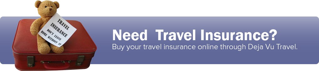 Buy travel insurance online through Deja Vu Travel